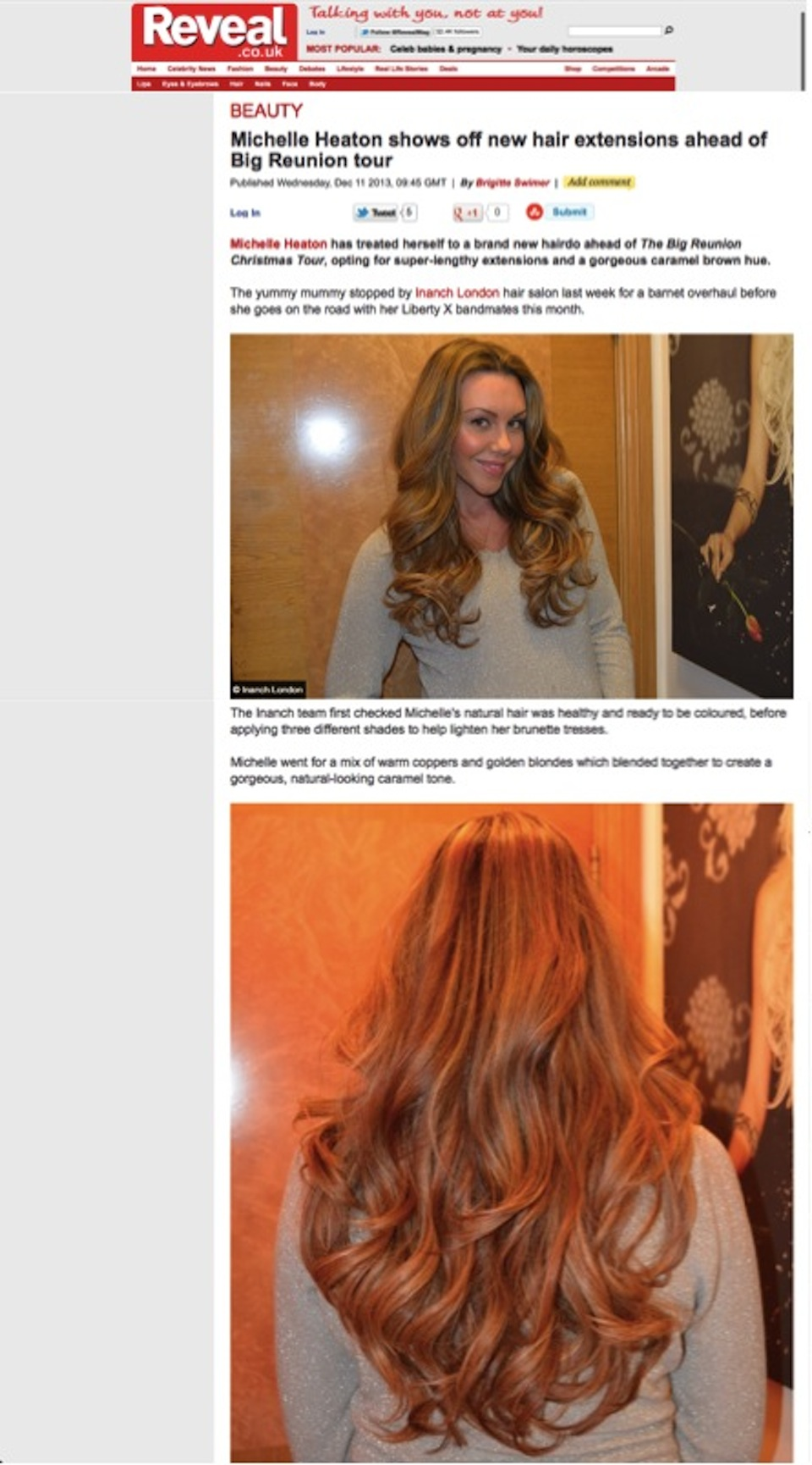 Michelle Heaton Shows Off Her New Hair Extensions Ahead Of The Big